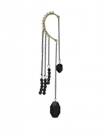 femnmas black tassel gem earcuff