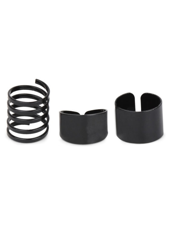 Black Three Ring Set By Femnmas