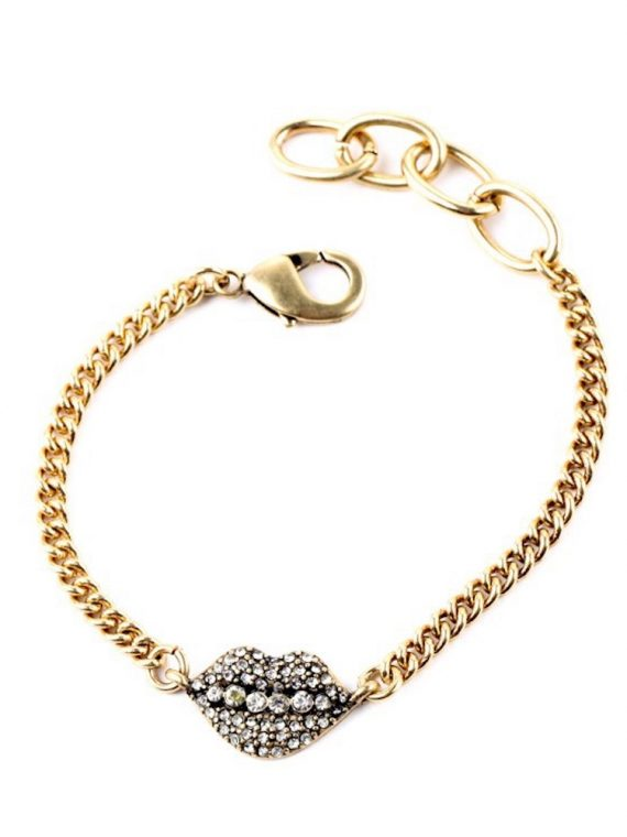 Stone Studded Lip Bracelet By Femnmas