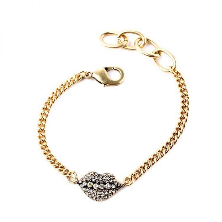 Stone Studded Lip Bracelet By Femnmas