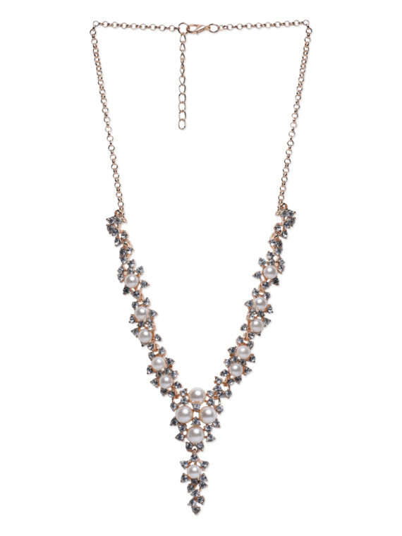Pearl Zircon Statement Party Necklace