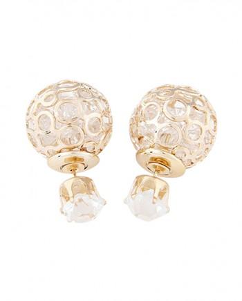 FemNmas-hollow-flower-crystal-Double-Side-Earring-in-India