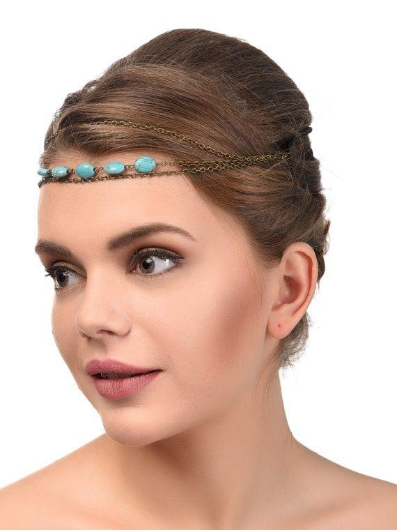 Blue Beads Designer Head Chains For Girls