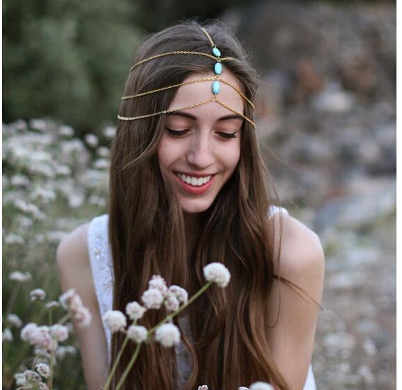 Blue Bead Head Chain For Girls