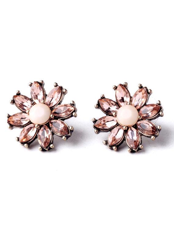 FemNmas pink Crystal Flower Studs`