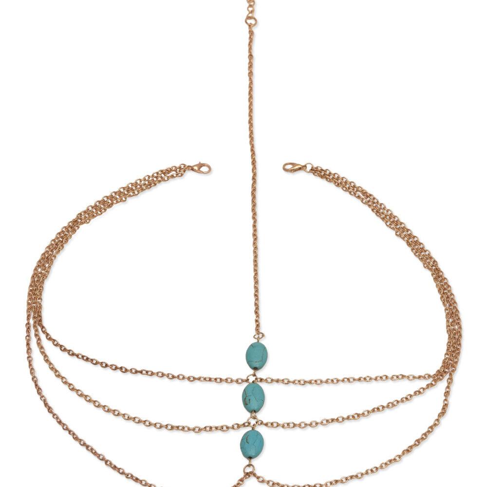 Multi Chain Blue Beads Head Chain