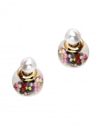 FemNmas Glass double sided pearl earrings