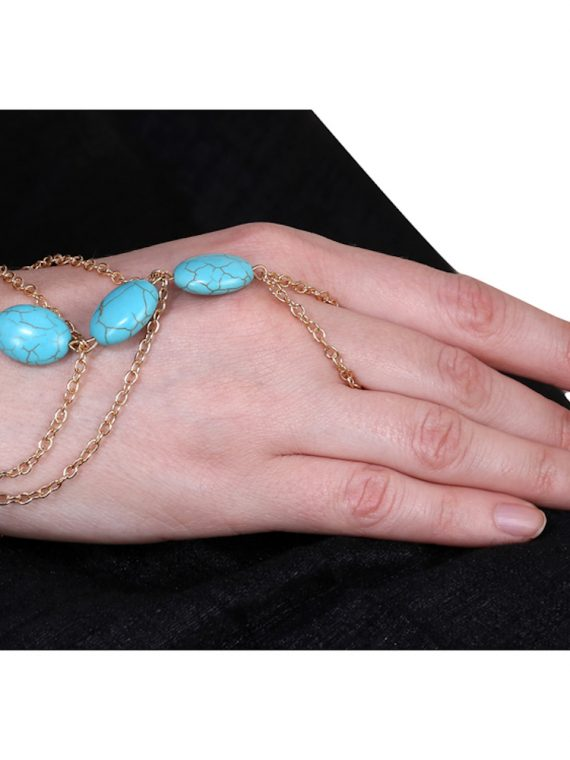 Blue Beads Designer Bracelet With Ring