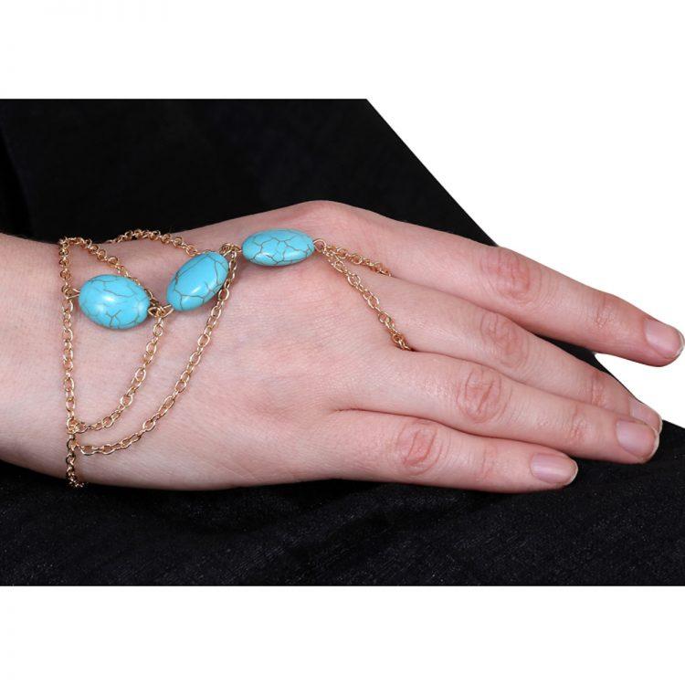Blue Beads Designer Bracelet With Ring