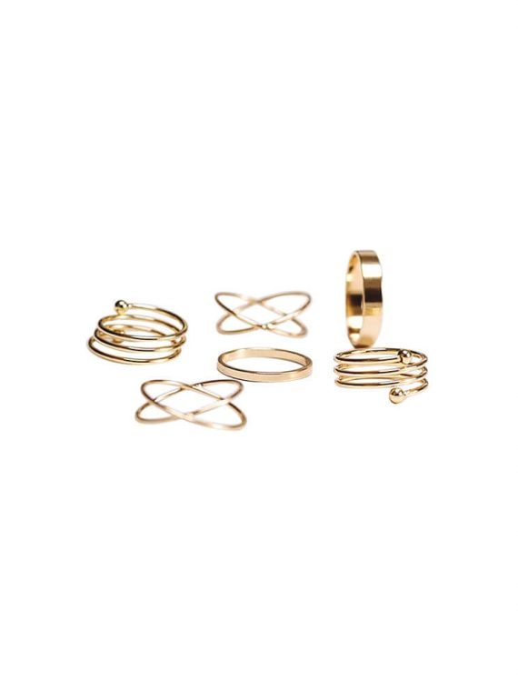 Golden Six ring set for girls by femnmas