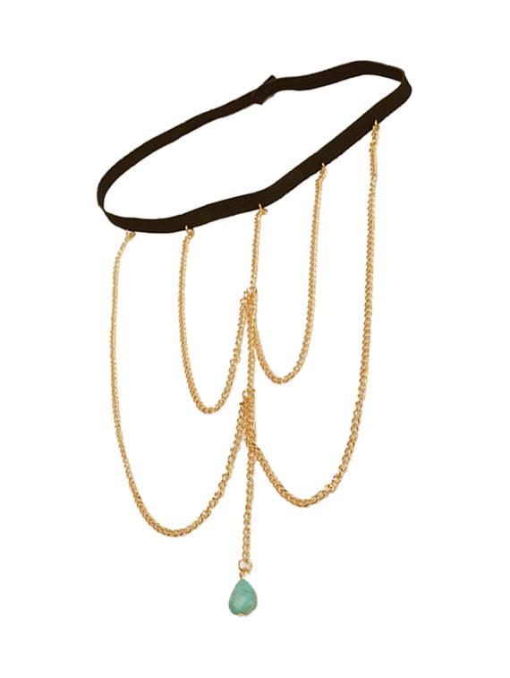 Blue Bead Thigh Chain For Girls