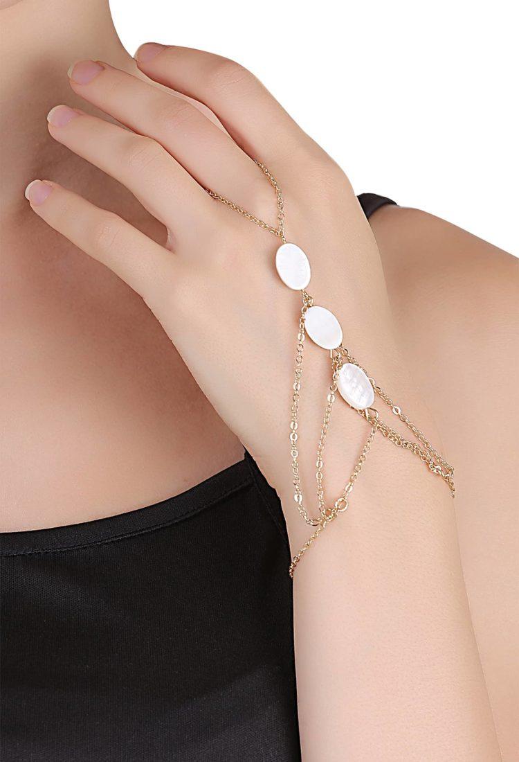 Buy White Gemstone Ring Chain Bracelet in India