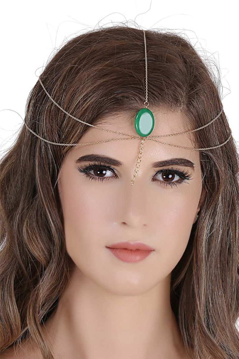 Green Gemstone Head Chain In India