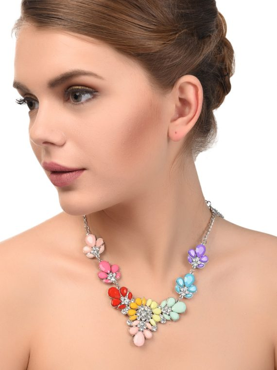 Multi Color Statement Fashion Necklace