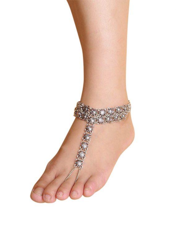 Flower Toe Ring Chain Anklet For Girls