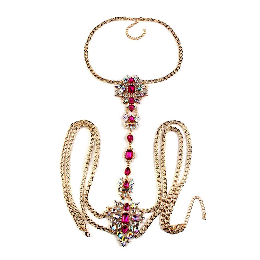 Flower Pink Gemstone Body Chain