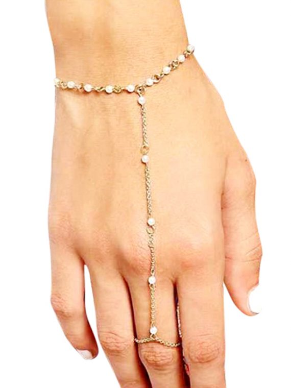 Pearl Ring Chain Bracelet