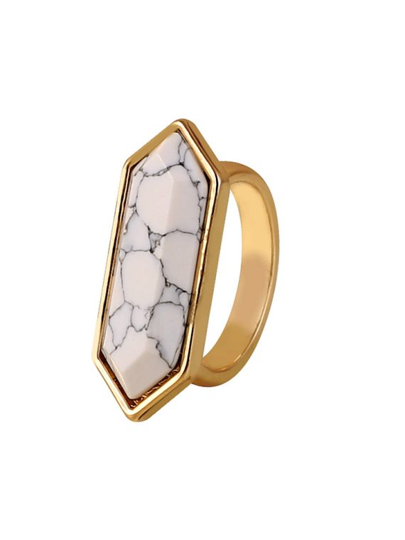 Buy White Marble Statement Ring Online