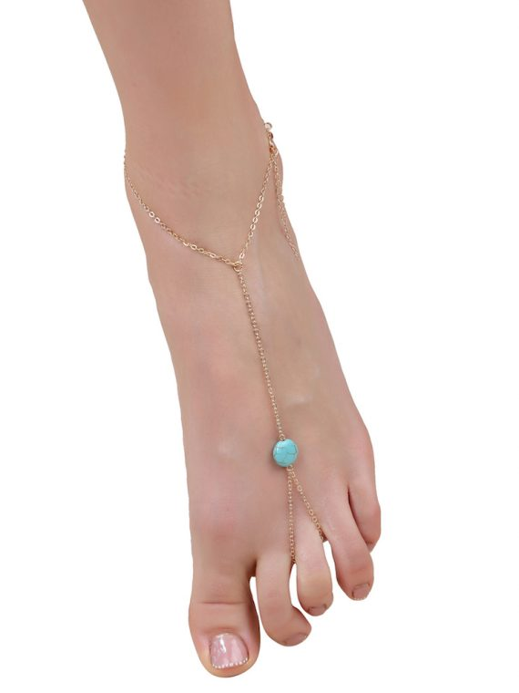 Buy Blue Gemstone Toe Ring Anklet