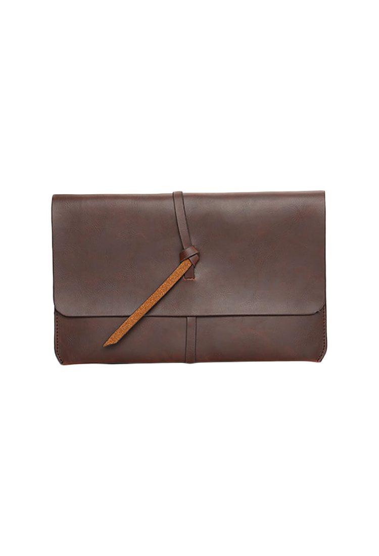 Tan Leather Women Clutch