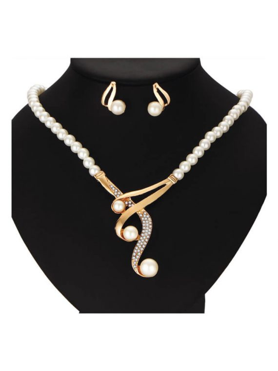 White pearl necklace earrings set for girls