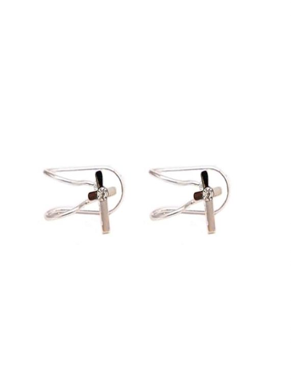 Buy Silver Cross Earbone Earrings