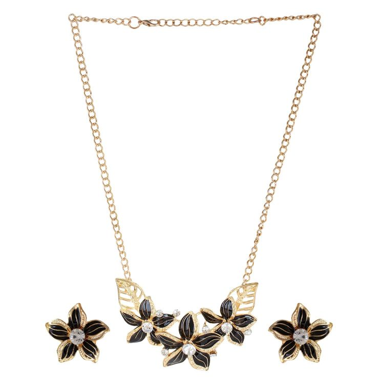 Black Statement Necklace Set For Girls