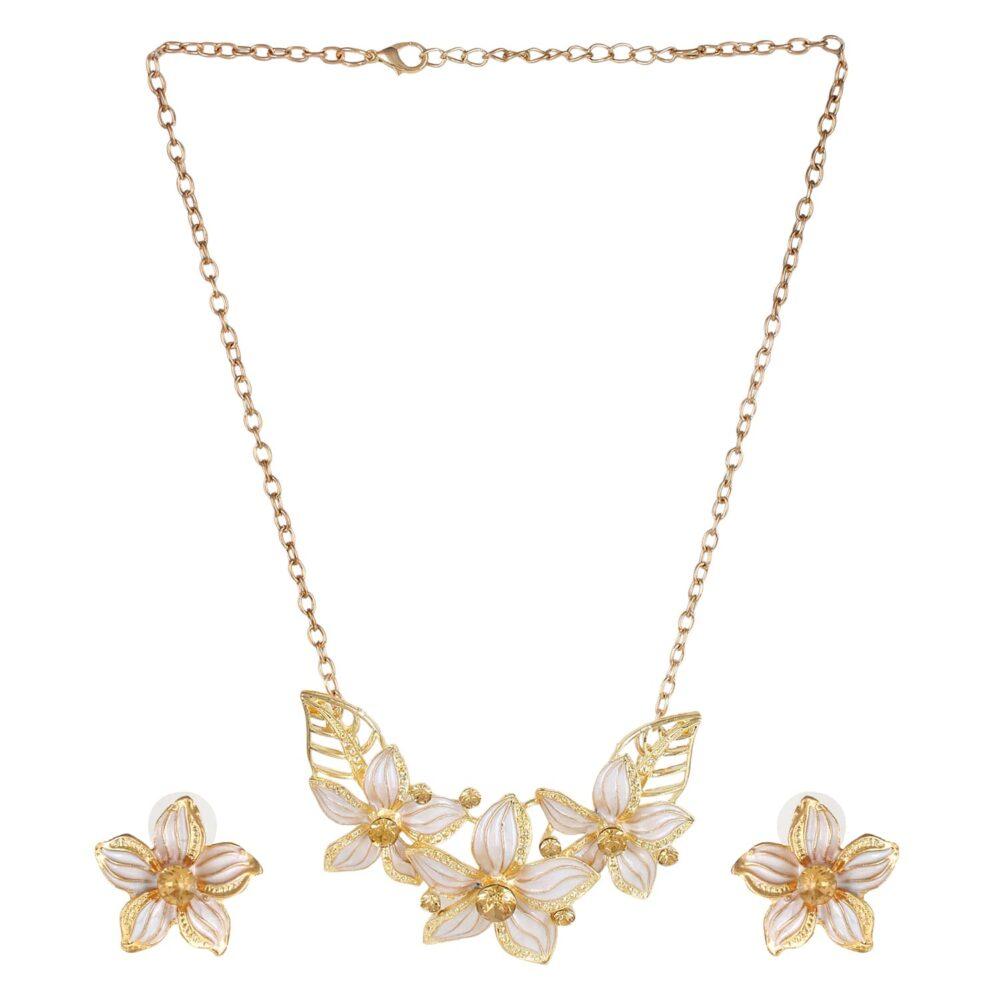 White Flower Necklace Set For Girls