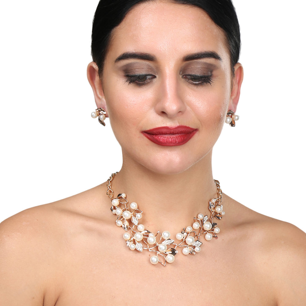 White Pearl Necklace Set For Girls