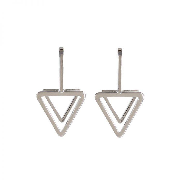 Femnmas Silver Triangle Ear Lobe Earrings