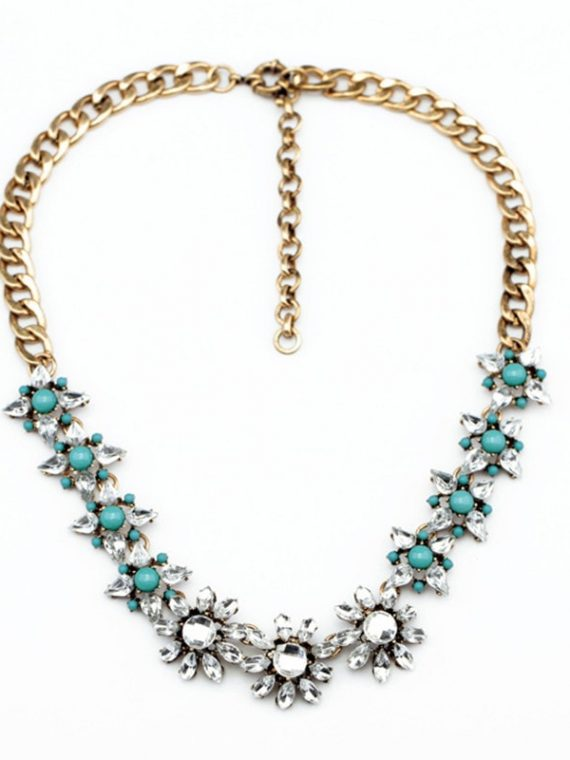 Zircon Green Floral Necklace For Women