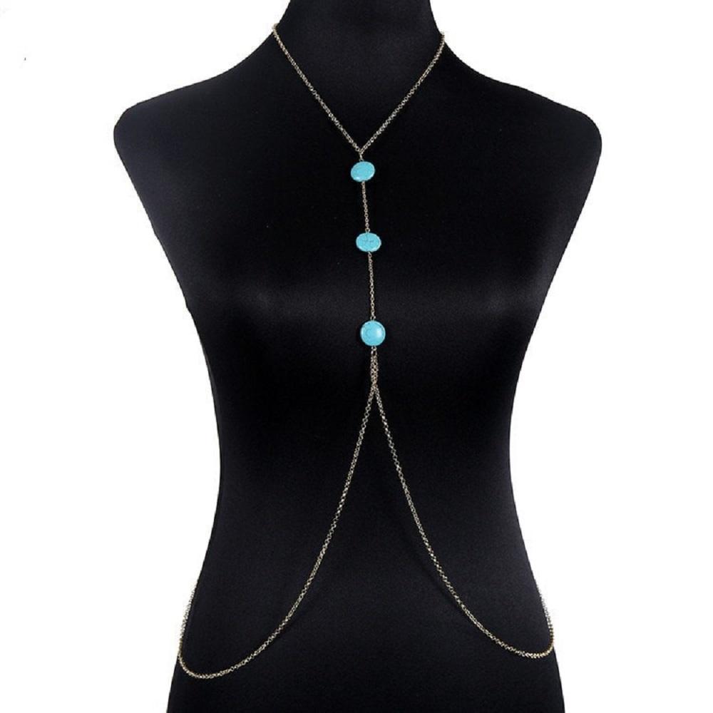 Blue Bead Designer Silver Body chain for Girls