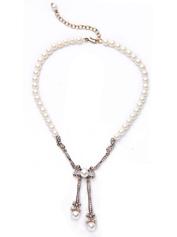 White Pearl Designer Necklace For Girls