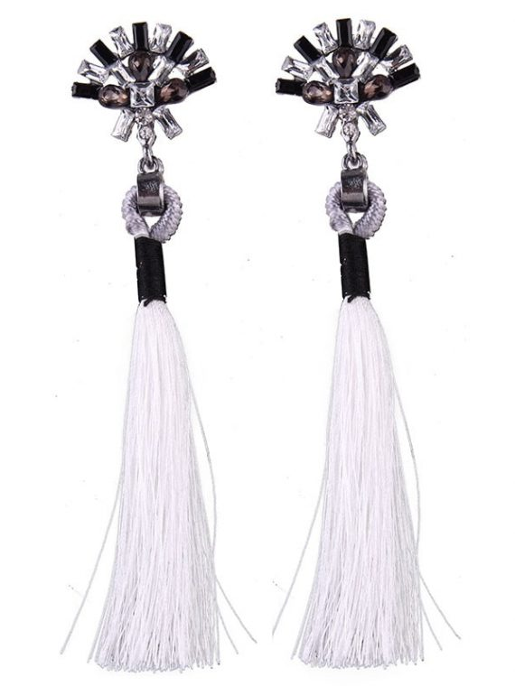White Thread Ethnic Earrings For Girls