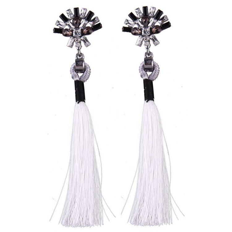 White Thread Ethnic Earrings For Girls