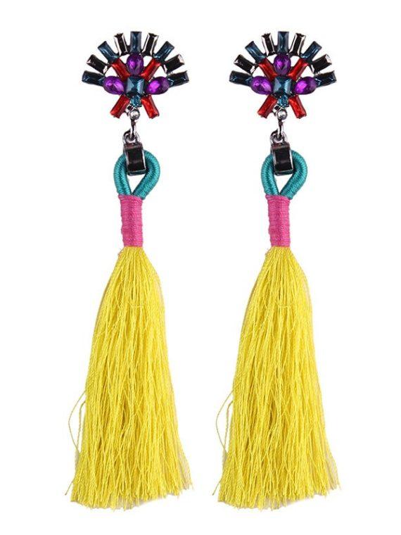 Yellow Thread Earrings For Girls