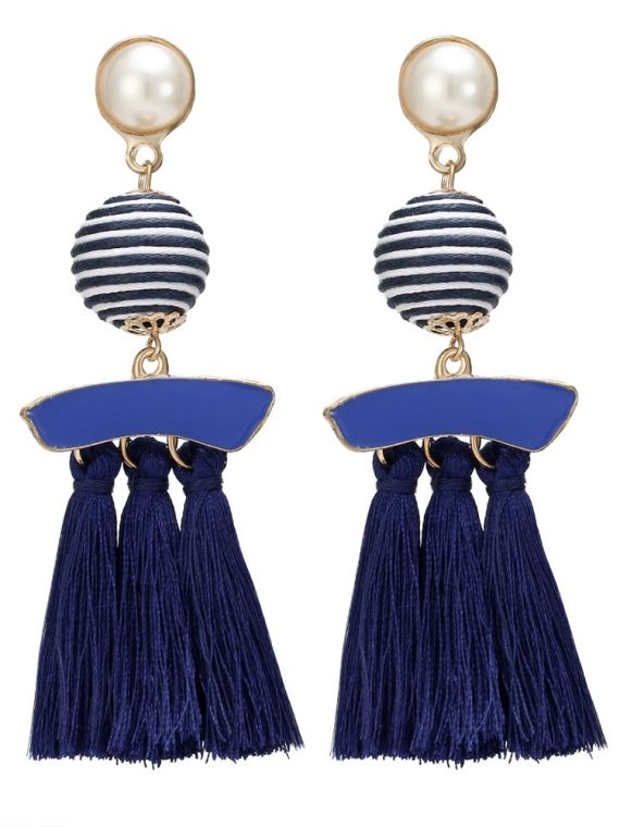 Blue Tassel Ethnic Earrings For Girls