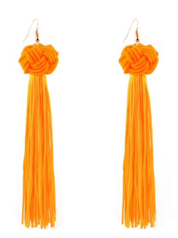 Orange Thread Earrings For Girls
