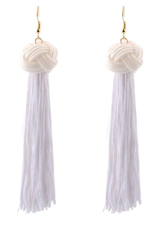 White Thread Ethnic Indian Earrings For Girls
