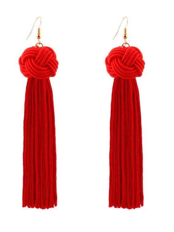 Red Thread Tassel Earrings For Girls By Femnmas