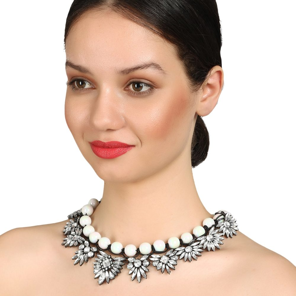 Stone Studded White Choker Statement Necklace By Femnmas