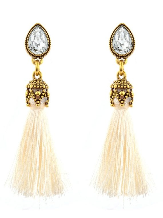 Cream Tassel Thread Earrings For Women