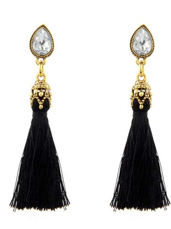 Black Thread Earrings For Women