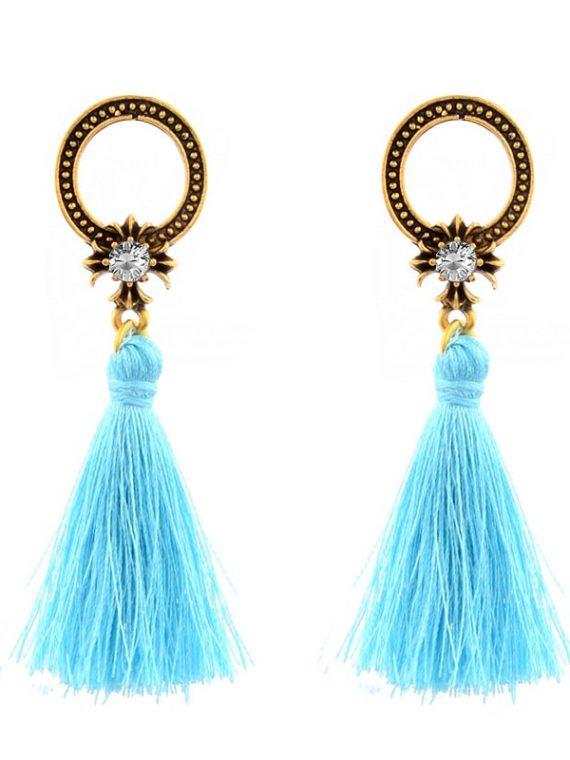 Turquoise Blue Designer Thread Earrings Earrings for Women