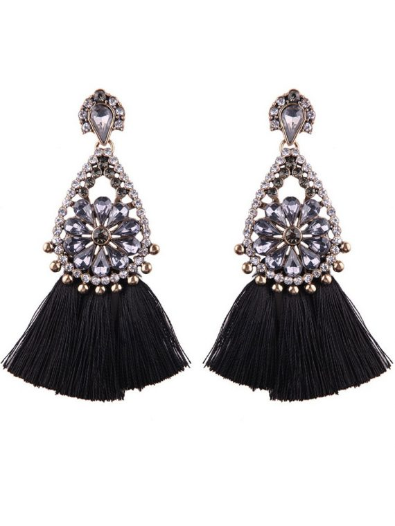 Black Tassel Earrings by Femnmas