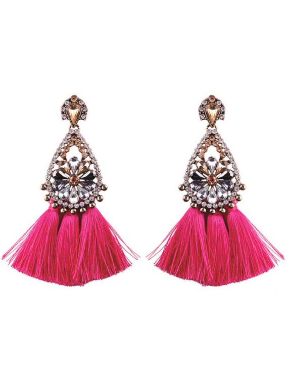 Pink Tassel Stone Studded Fashion earrings for girls by femnmas