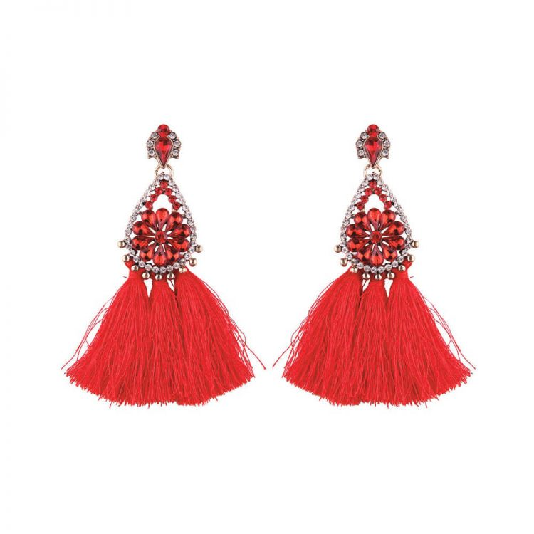 Red Stone Studded Tassel Earrings By Femnmas