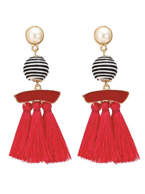 Red Designer Tassel Earrings By Femnmas