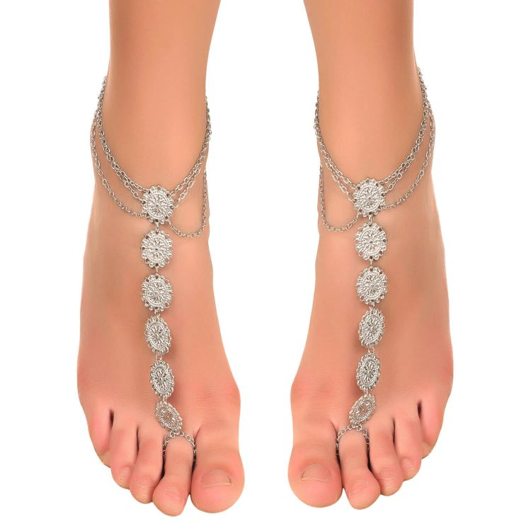 Silver Coin Anklet With Toe Ring