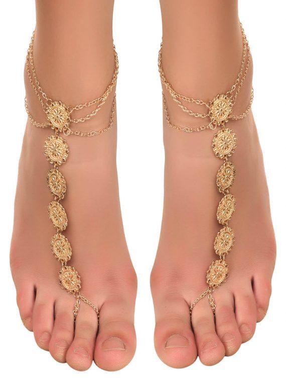 Golden Designer Toe Ring Anklet From Femnmas